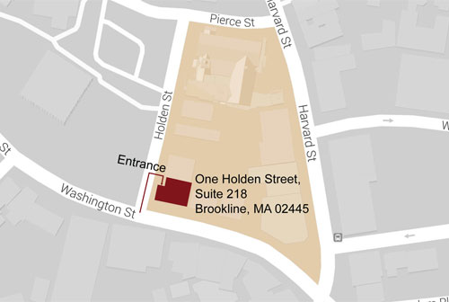 Map of Workswell location at One Holden Street, Brookline, MA